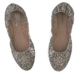 Tahari Leather Valerie Ballet Flat Metallic Zebra